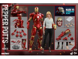 Hottoys Ironman Pepper Potts & Mark 9 IX Tony Stark Set with Bonus Part MMS311